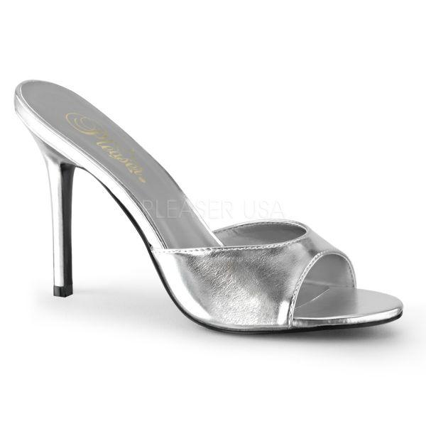 CLASSIQUE-01 High Heel Pantolette silber